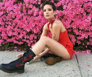 halsey, pink, and flowers image