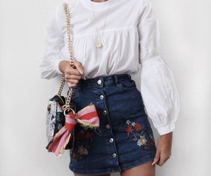 denim, embroidered, and outfit image