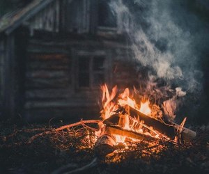 fire, autumn, and house image