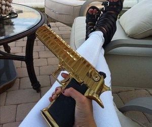 girl, glitter, and gun image