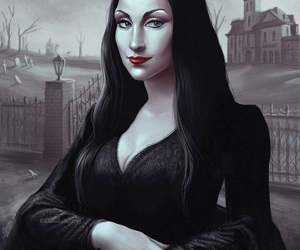 goth, gothic, and Morticia Addams image
