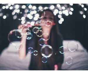 girl, light, and bubbles image