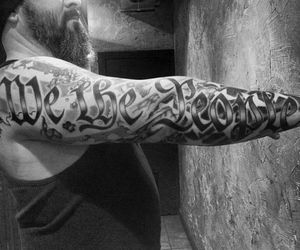 b&w, tattoo, and we the people image