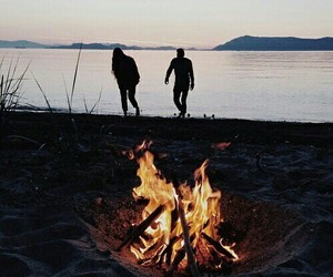 couple, fire, and nature image