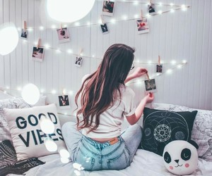 girl, lights, and bedroom image
