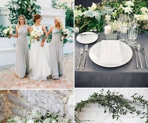 green, grey, and wedding image