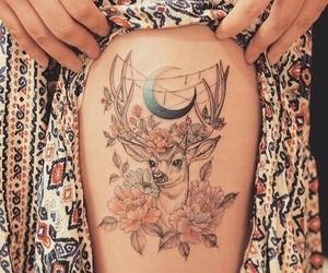 tattoo, deer, and moon image