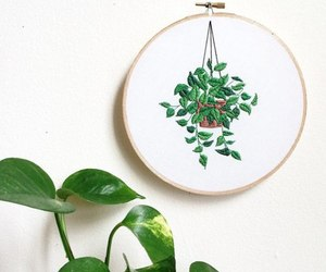 embroidery, green, and leaves image