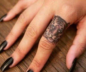 tattoo, tiger, and nails image