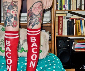 bacon, girl, and ink image
