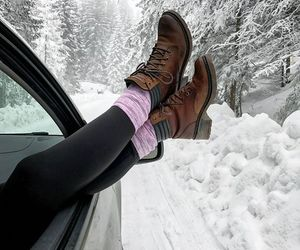 boots, car, and cold image