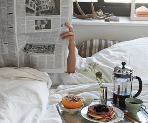 breakfast, morning, and bed image