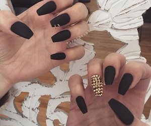 black nails, c, and chic image