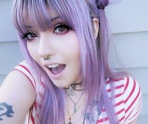 hair, purple hair, and tattoo image