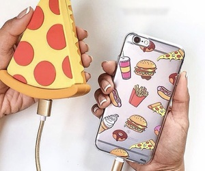 case, phone, and pizza image