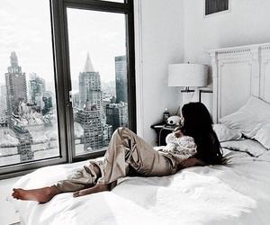bed, brunette, and grey image