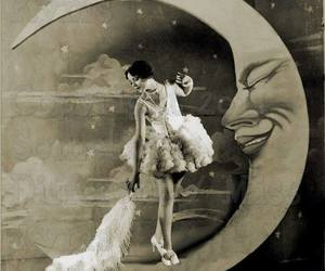 moon, vintage, and girl image