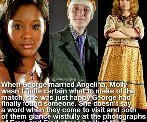 molly weasley, george weasley, and harry potter facts image