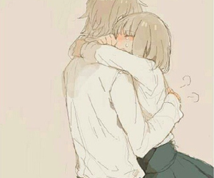 anime, couple, and hug image