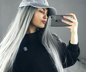 girl, grey hair, and hairstyle image