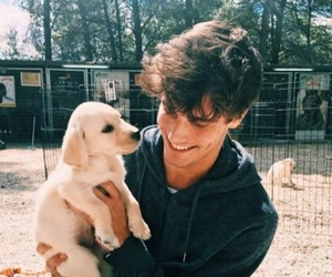 cute guy, dog, and tumblr image