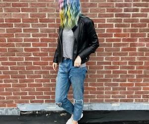 fashion, leather jacket, and nike image