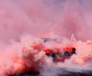 pink, car, and smoke image
