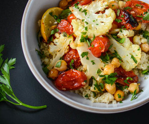 cauliflower, healthy, and tomato image