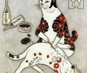 art, cat, and tattoo image