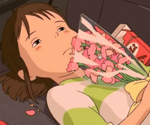 chihiro, spirited away, and flowers image