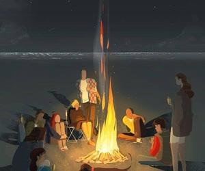 beach, summer, and bon fire image