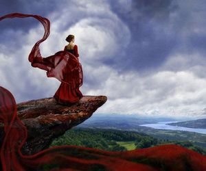 dress, red, and sky image