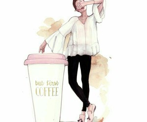 coffee, fashion illustration, and monday coffee image