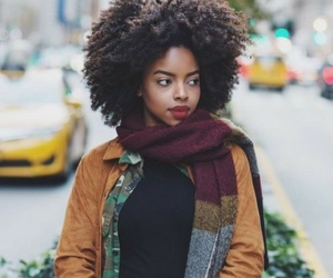 Afro, black woman, and fall fashion image