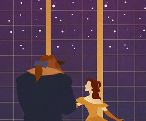 beauty and the beast, disney art, and belle image