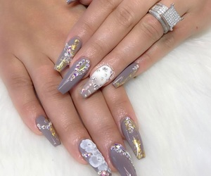 flower, gold, and nails image