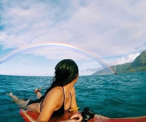 rainbow, beach, and summer image