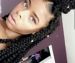 curls, hair, and box braids image