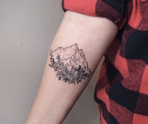 flower, mountain, and tattoo image