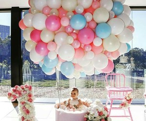 baby, balloons, and one year image