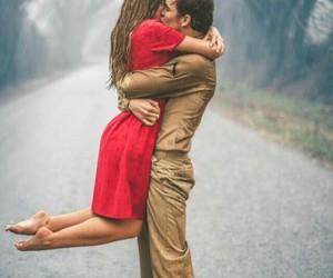 couple, kiss, and rain image