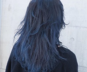 blue, dark, and hair image