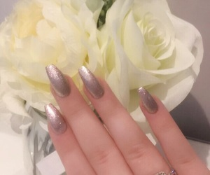 flowers, long nails, and nails image
