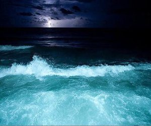 sea, night, and ocean image