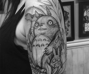 anime, totoro, and black and white image