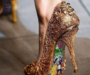 shoes, gold, and beauty and the beast image