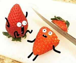 strawberry, funny, and knife image