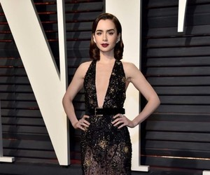 lily collins, dress, and outfit image