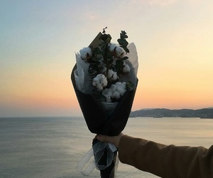 aesthetic, flowers, and sunset image