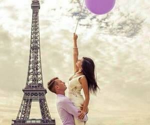 couple, eiffel, and love image